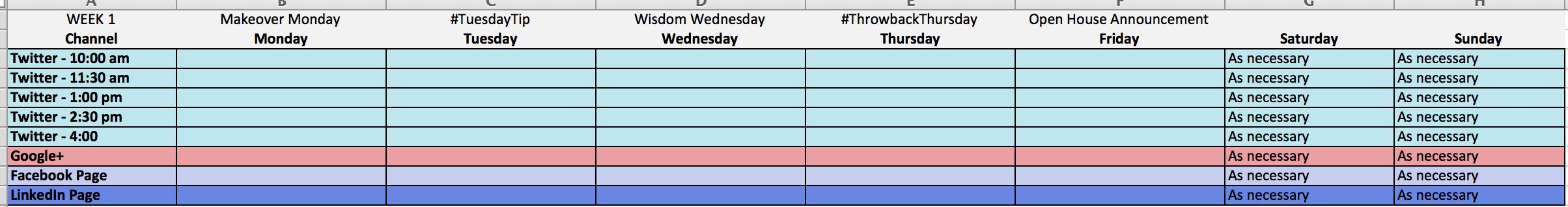 Content Calendar Excel