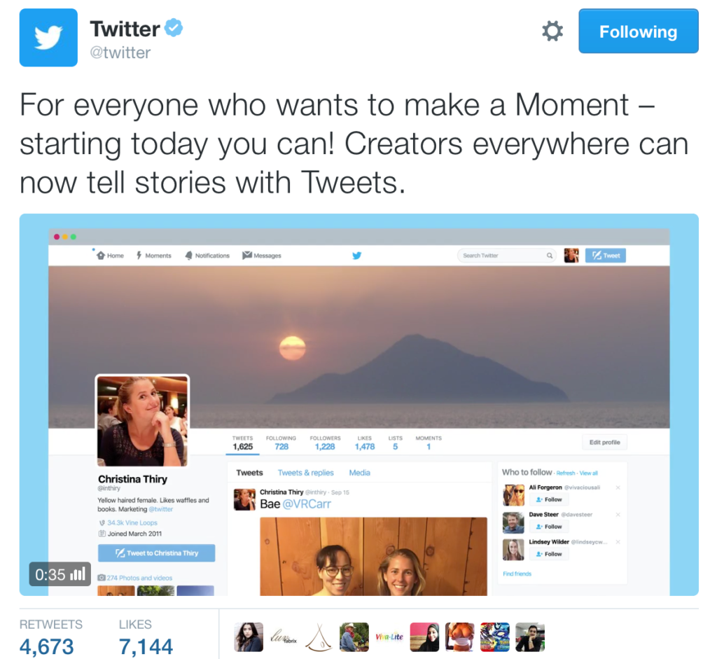 Twitter Makes Moments Available to All Users