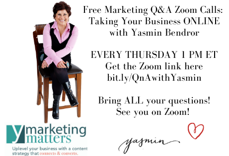 Free Marketing Consulting & Coaching Zoom Q&A Calls EVERY THURSDAY with Yasmin
